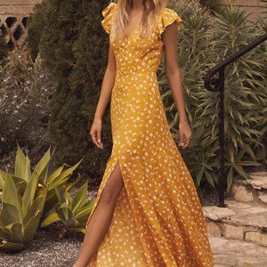 Lulus Mustard Yellow Floral Maxi Dress